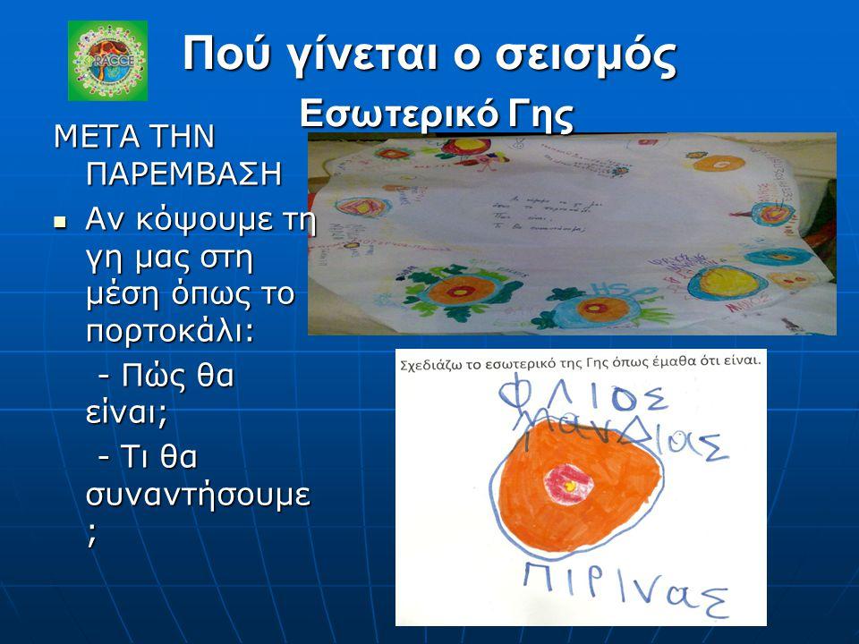 Πού γίνεται ο σεισμός Εσωτερικό Γης ΜΕΤΑ ΤΗΝ ΠΑΡΕΜΒΑΣΗ Αν κόψουμε τη γη μας στη μέση όπως το πορτοκάλι: Αν κόψουμε τη γη μας στη μέση όπως το πορτοκάλ