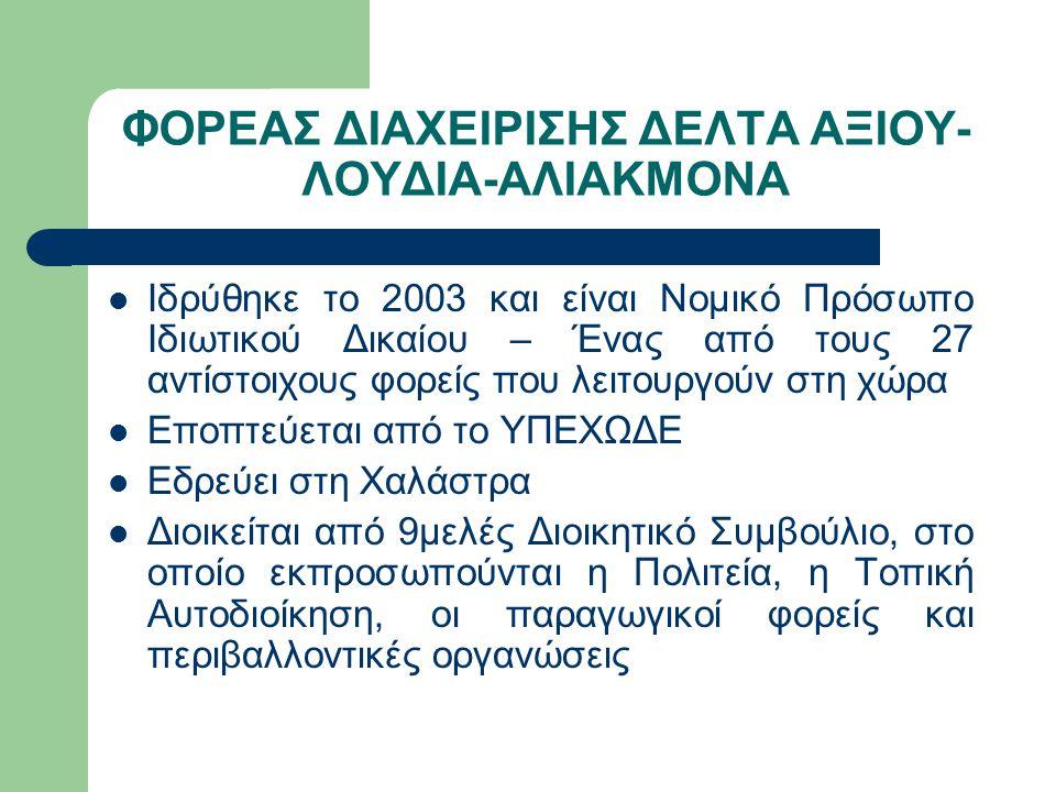 ΦΟΡΕΑΣ ΔΙΑΧΕΙΡΙΣΗΣ ΔΕΛΤΑ ΑΞΙΟΥ- ΛΟΥΔΙΑ-ΑΛΙΑΚΜΟΝΑ Ιδρύθηκε το 2003 και είναι Νομικό Πρόσωπο Ιδιωτικού Δικαίου – Ένας από τους 27 αντίστοιχους φορείς που λειτουργούν στη χώρα Εποπτεύεται από το ΥΠΕΧΩΔΕ Εδρεύει στη Χαλάστρα Διοικείται από 9μελές Διοικητικό Συμβούλιο, στο οποίο εκπροσωπούνται η Πολιτεία, η Τοπική Αυτοδιοίκηση, οι παραγωγικοί φορείς και περιβαλλοντικές οργανώσεις