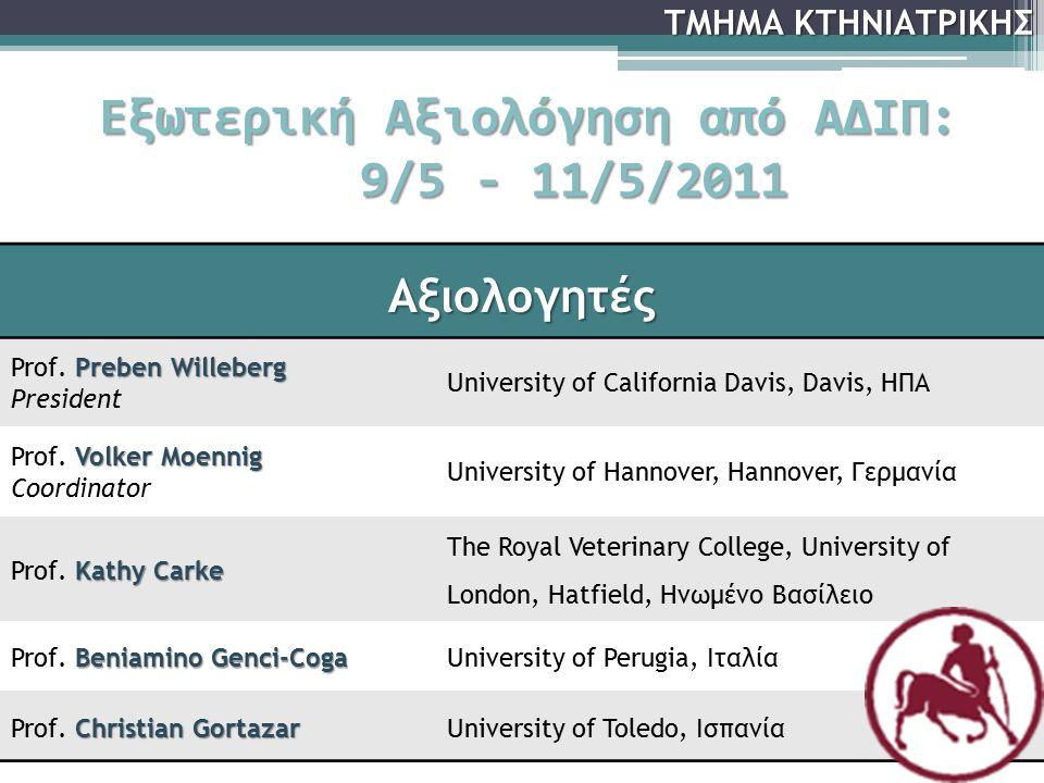 Εξωτερική Αξιολόγηση από ΑΔΙΠ: 9/5 - 11/5/2011 Αξιολογητές Preben Willeberg Prof. Preben Willeberg President University of California Davis, Davis, ΗΠ
