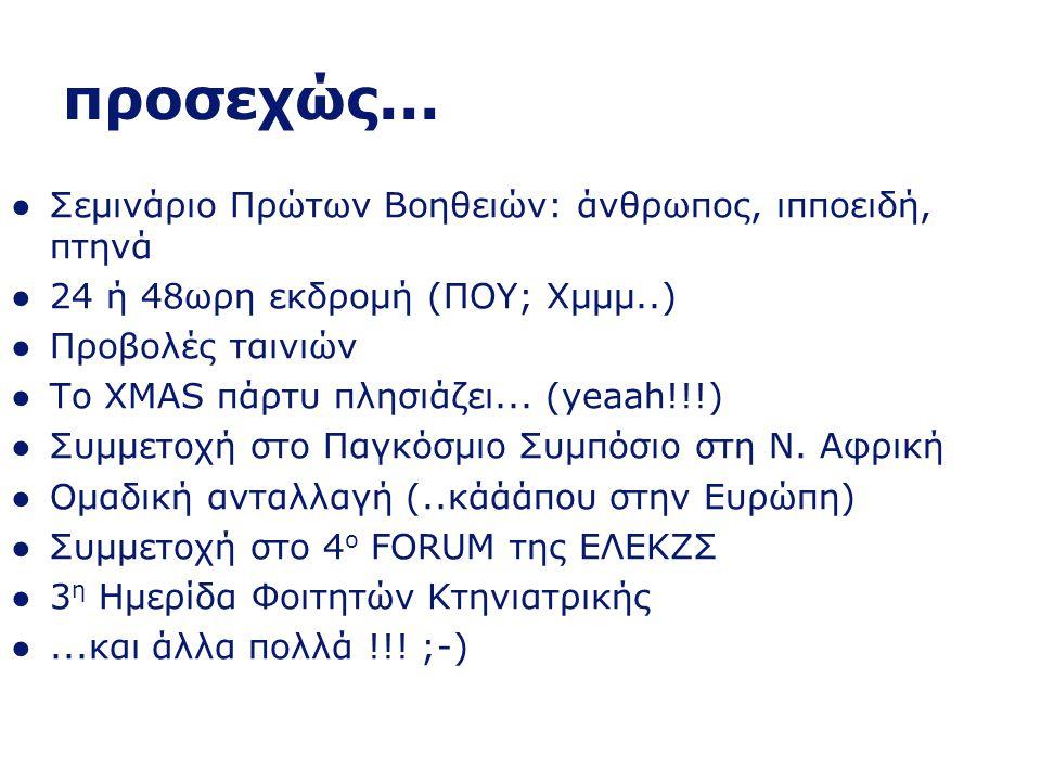 Δραστηριότητες...και φυσικά ΚΤΗΝΙΑΤΡΙΚΑ ΠΑΡΤΥ -Μάιος 2010 -Δεκέμβριος 2010 -Μάιος 2011 -Δεκέμβριος 2011 -Μάρτιος 2012 -....;