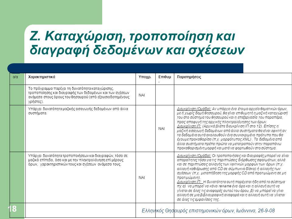Ελληνικός Θησαυρός επιστημονικών όρων, Ιωάννινα, 26-9-08 18 Ζ.