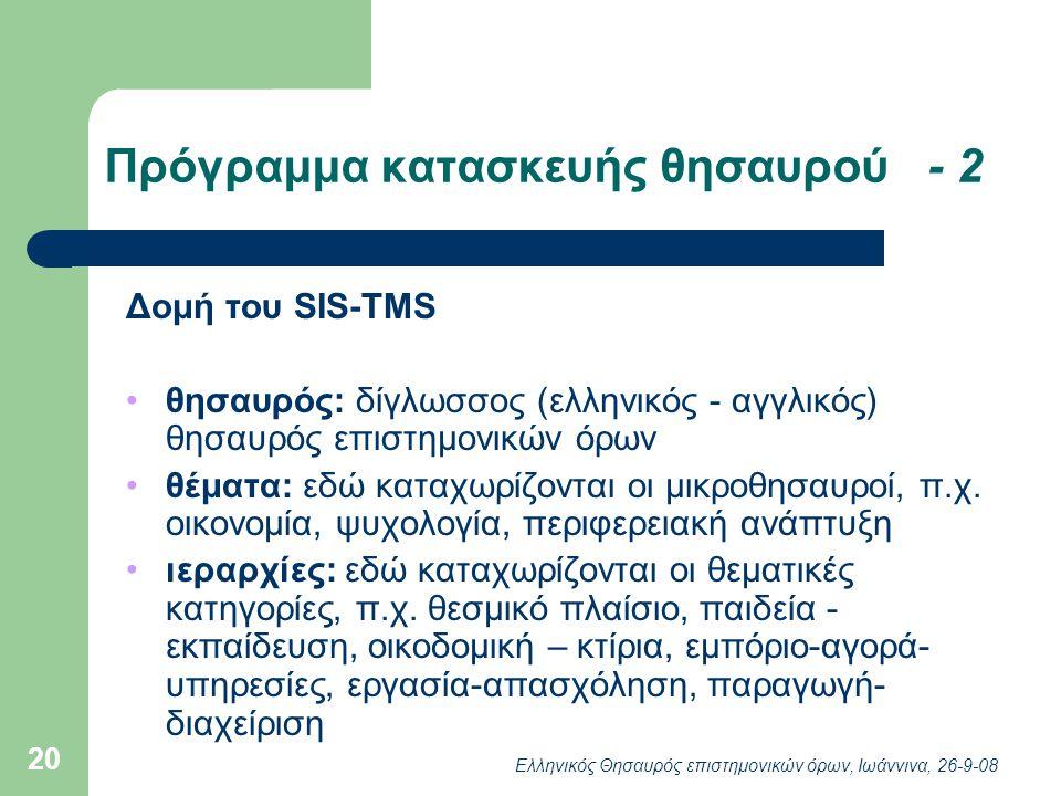 Ελληνικός Θησαυρός επιστημονικών όρων, Ιωάννινα, 26-9-08 20 Πρόγραμμα κατασκευής θησαυρού - 2 Δομή του SIS-TMS θησαυρός: δίγλωσσος (ελληνικός - αγγλικός) θησαυρός επιστημονικών όρων θέματα: εδώ καταχωρίζονται οι μικροθησαυροί, π.χ.