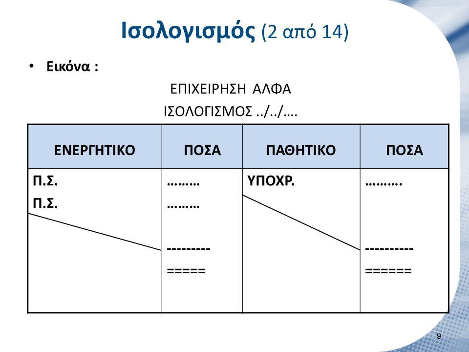 Ισολογισμός (2 από 14) Εικόνα : ΕΠΙΧΕΙΡΗΣΗ ΑΛΦΑ ΙΣΟΛΟΓΙΣΜΟΣ../../…. ENEΡΓΗΤΙΚΟΠΟΣΑΠΑΘΗΤΙΚΟΠΟΣΑ Π.Σ. ……… --------- ===== ΥΠΟΧΡ.………. ---------- ====== 9