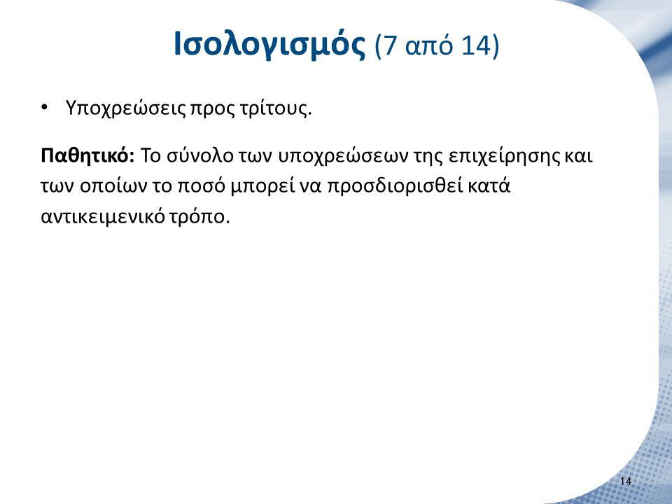 Ισολογισμός (7 από 14) Υποχρεώσεις προς τρίτους. Παθητικό: Το σύνολο των υποχρεώσεων της επιχείρησης και των οποίων το ποσό μπορεί να προσδιορισθεί κα