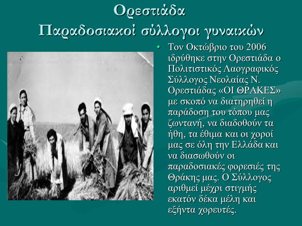 Ορεστιάδα Παραδοσιακοί σύλλογοι γυναικών Τον Οκτώβριο του 2006 ιδρύθηκε στην Ορεστιάδα ο Πολιτιστικός Λαογραφικός Σύλλογος Νεολαίας Ν. Ορεστιάδας «ΟΙ