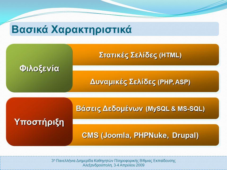 3 η Πανελλήνια Διημερίδα Καθηγητών Πληροφορικής Β/θμιας Εκπαίδευσης Αλεξανδρούπολη, 3-4 Απριλίου 2009 Βασικά Χαρακτηριστικά Δυναμικές Σελίδες (PHP, ASP) Στατικές Σελίδες (HTML) Φιλοξενία CMS (Joomla, PHPNuke, Drupal) Βάσεις Δεδομένων (MySQL & MS-SQL) Υποστήριξη