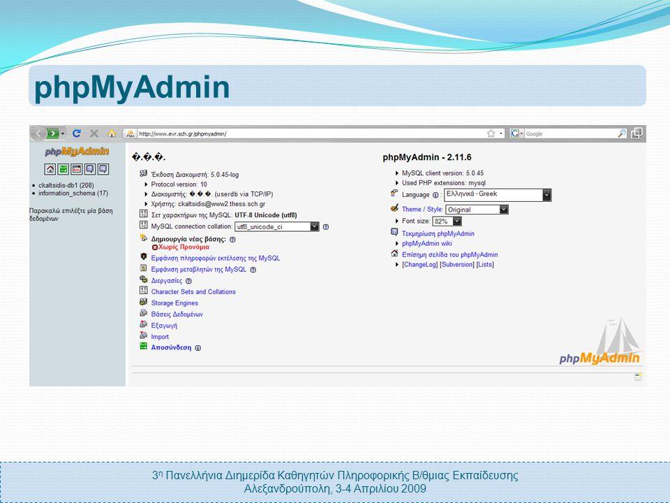 3 η Πανελλήνια Διημερίδα Καθηγητών Πληροφορικής Β/θμιας Εκπαίδευσης Αλεξανδρούπολη, 3-4 Απριλίου 2009 phpMSAdmin