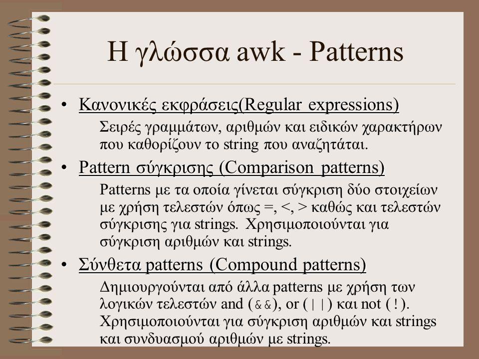 Η γλώσσα awk - Patterns Κανονικές εκφράσεις(Regular expressions)Κανονικές εκφράσεις(Regular expressions) Σειρές γραμμάτων, αριθμών και ειδικών χαρακτή