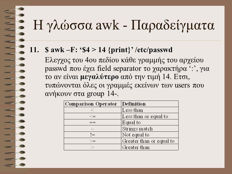 11.$ awk –F: '$4 > 14 {print}' /etc/passwd μεγαλύτερο Ελεγχος του 4ου πεδίου κάθε γραμμής του αρχείου passwd που έχει field separator το χαρακτήρα ':'