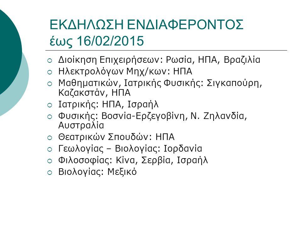 ΕΚΔΗΛΩΣΗ ΕΝΔΙΑΦΕΡΟΝΤΟΣ έως 16/02/2015  Διοίκηση Επιχειρήσεων: Ρωσία, ΗΠΑ, Βραζιλία  Ηλεκτρολόγων Μηχ/κων: ΗΠΑ  Μαθηματικών, Ιατρικής Φυσικής: Σιγκα