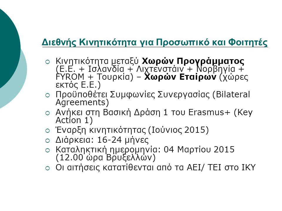  Κινητικότητα μεταξύ Χωρών Προγράμματος (Ε.Ε. + Ισλανδία + Λιχτενστάιν + Νορβηγία + FYROM + Τουρκία) – Χωρών Εταίρων (χώρες εκτός Ε.Ε.)  Προϋποθέτει