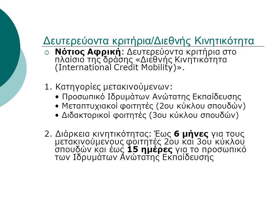 Δευτερεύοντα κριτήρια/Διεθνής Κινητικότητα  Νότιος Αφρική: Δευτερεύοντα κριτήρια στο πλαίσιο της δράσης «Διεθνής Κινητικότητα (International Credit M