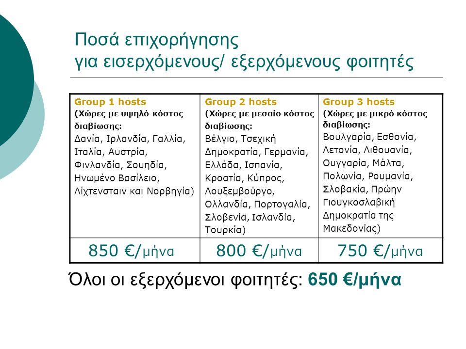 Ποσά επιχορήγησης για εισερχόμενους/ εξερχόμενους φοιτητές Group 1 hosts (Χώρες με υψηλό κόστος διαβίωσης: Δανία, Ιρλανδία, Γαλλία, Ιταλία, Αυστρία, Φ