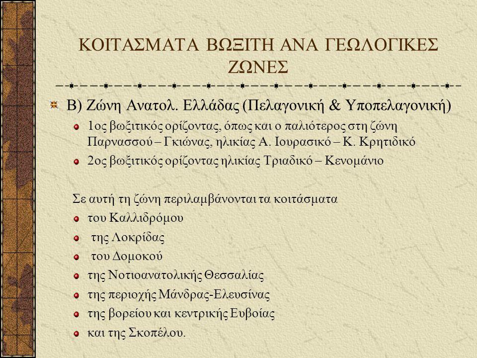 ΚΟΙΤΑΣΜΑΤΑ ΒΩΞΙΤΗ ΑΝΑ ΓΕΩΛΟΓΙΚΕΣ ΖΩΝΕΣ Γ) Υπόλοιπος ελλαδικός χώρος Τα παρακάτω κοιτάσματα βρίσκονται σε άλλες γεωλογικές ζώνες που σχηματίστηκαν κυρίως λόγω τεκτονικών φαινομένων: Όρος Κατσίκα Χαλκιδικής Νότιο τμήμα της Χίου Ναύπακτος – Πύλος και ανατολική Πελοπόννησος (όρη Αρτεμίσιο, Παρθένιο) Βροντερό της περιοχής Πρεσπών Τα περισσότερα από τα παραπάνω κοιτάσματα βρίσκονται μέσα σε ασβεστόλιθους της κάθε περιοχής
