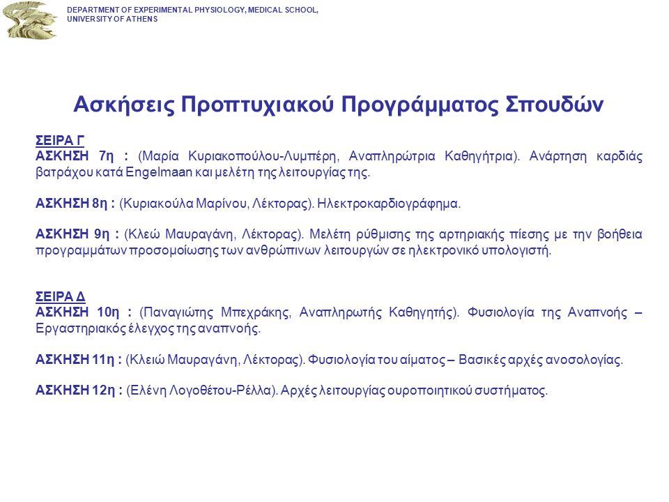 Ασκήσεις Προπτυχιακού Προγράμματος Σπουδών ΣΕΙΡΑ Γ ΑΣΚΗΣΗ 7η : (Μαρία Κυριακοπούλου-Λυμπέρη, Αναπληρώτρια Καθηγήτρια). Ανάρτηση καρδιάς βατράχου κατά