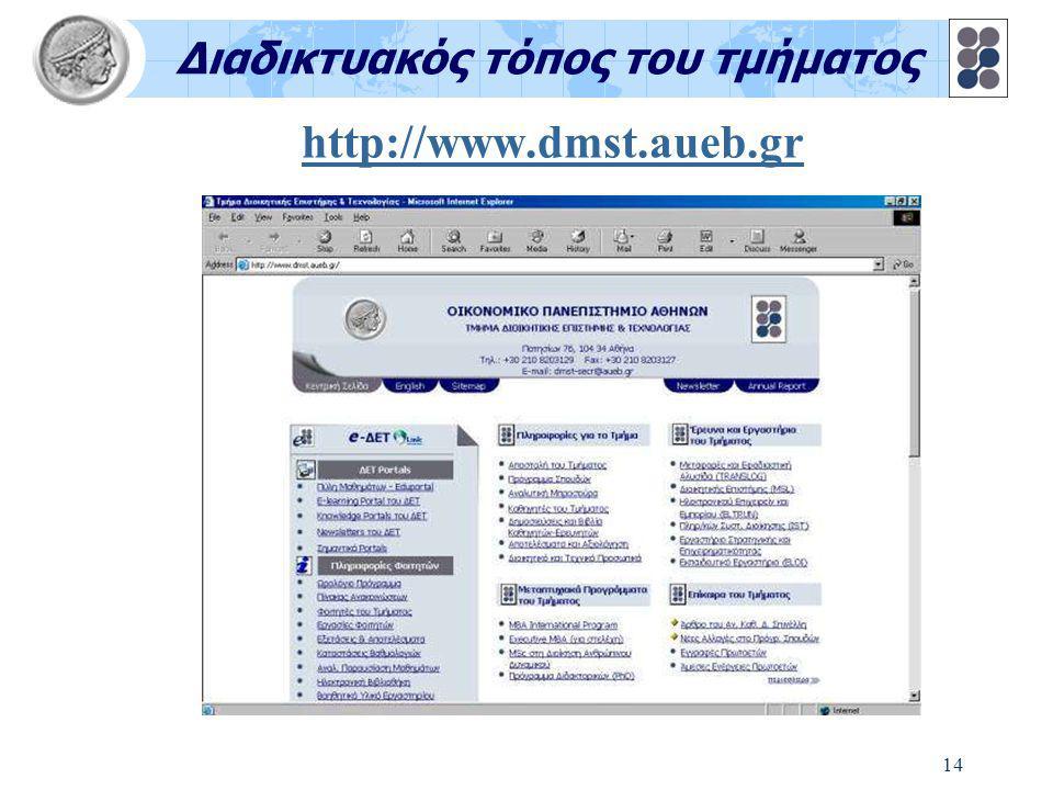 14 http://www.dmst.aueb.gr Διαδικτυακός τόπος του τμήματος
