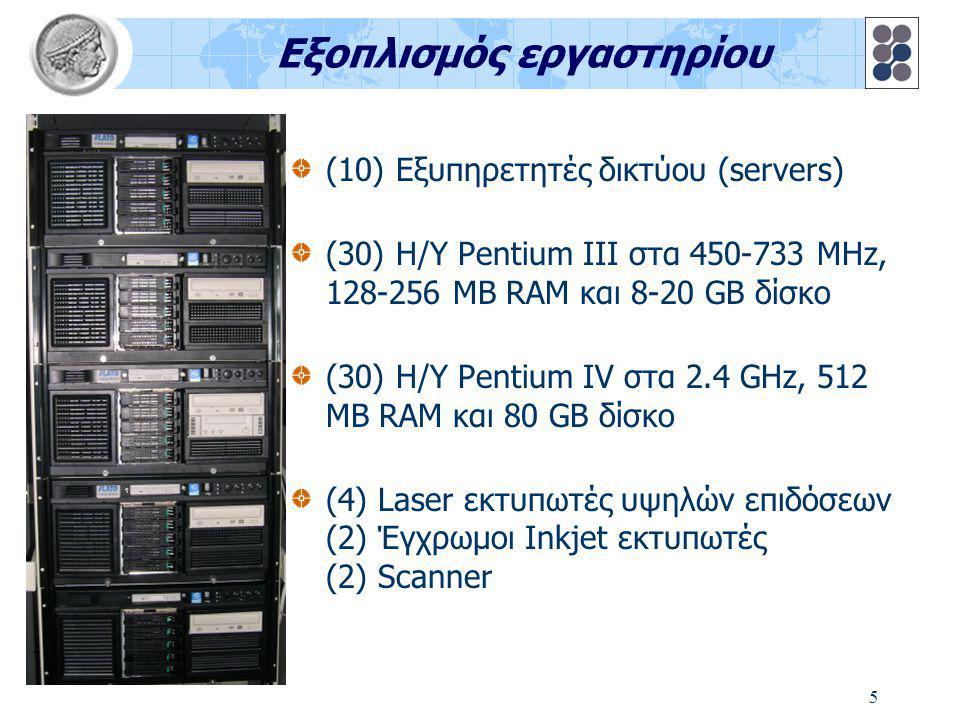 5 Εξοπλισμός εργαστηρίου (10) Εξυπηρετητές δικτύου (servers) (30) Η/Υ Pentium III στα 450-733 MHz, 128-256 MB RAM και 8-20 GB δίσκο (30) Η/Υ Pentium IV στα 2.4 GHz, 512 MB RAM και 80 GB δίσκο (4) Laser εκτυπωτές υψηλών επιδόσεων (2) Έγχρωμοι Inkjet εκτυπωτές (2) Scanner