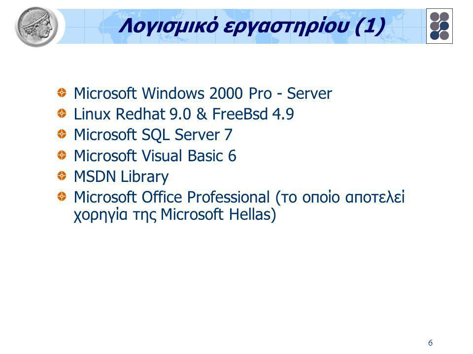 6 Λογισμικό εργαστηρίου (1) Microsoft Windows 2000 Pro - Server Linux Redhat 9.0 & FreeBsd 4.9 Microsoft SQL Server 7 Microsoft Visual Basic 6 MSDN Library Microsoft Office Professional (το οποίο αποτελεί χορηγία της Microsoft Hellas)