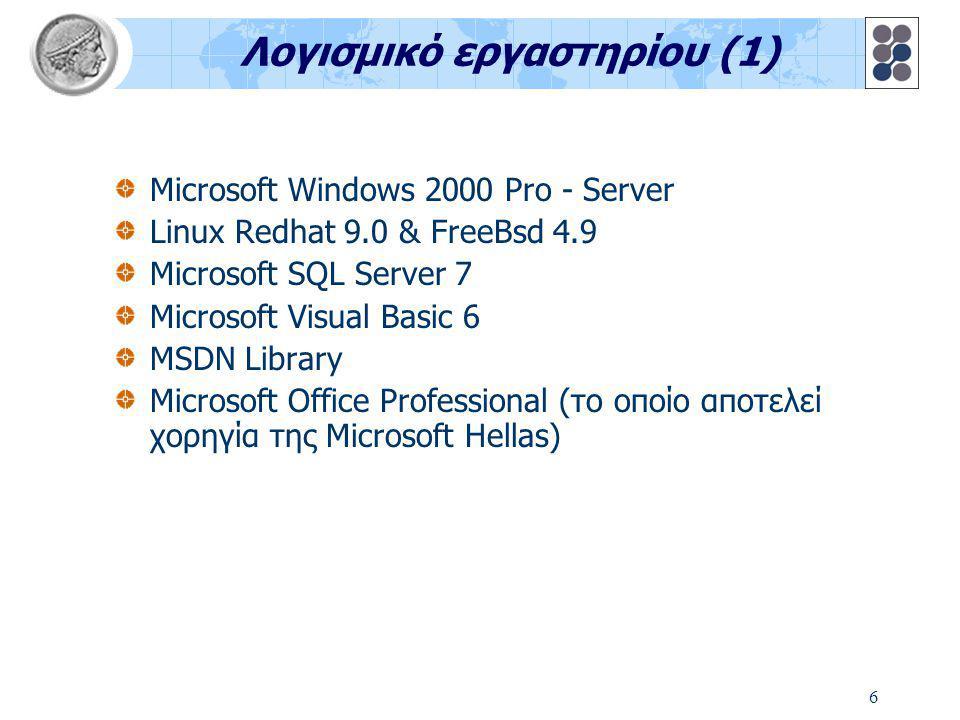 6 Λογισμικό εργαστηρίου (1) Microsoft Windows 2000 Pro - Server Linux Redhat 9.0 & FreeBsd 4.9 Microsoft SQL Server 7 Microsoft Visual Basic 6 MSDN Li