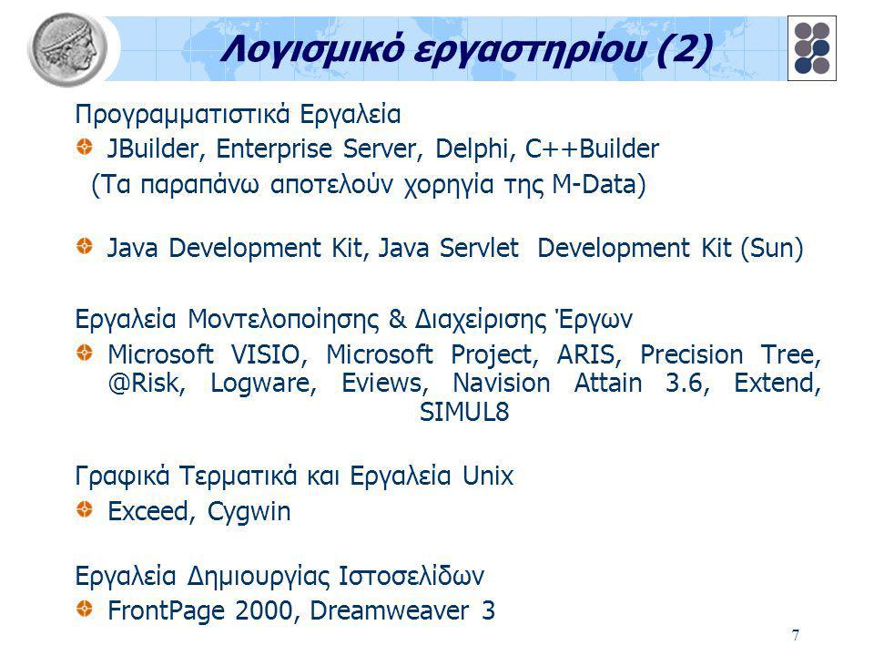 7 Λογισμικό εργαστηρίου (2) Προγραμματιστικά Εργαλεία JBuilder, Enterprise Server, Delphi, C++Builder (Tα παραπάνω αποτελούν χορηγία της M-Data) Java Development Kit, Java Servlet Development Kit (Sun) Εργαλεία Μοντελοποίησης & Διαχείρισης Έργων Microsoft VISIO, Microsoft Project, ARIS, Precision Tree, @Risk, Logware, Eviews, Navision Attain 3.6, Extend, SIMUL8 Γραφικά Τερματικά και Εργαλεία Unix Exceed, Cygwin Εργαλεία Δημιουργίας Ιστοσελίδων FrontPage 2000, Dreamweaver 3