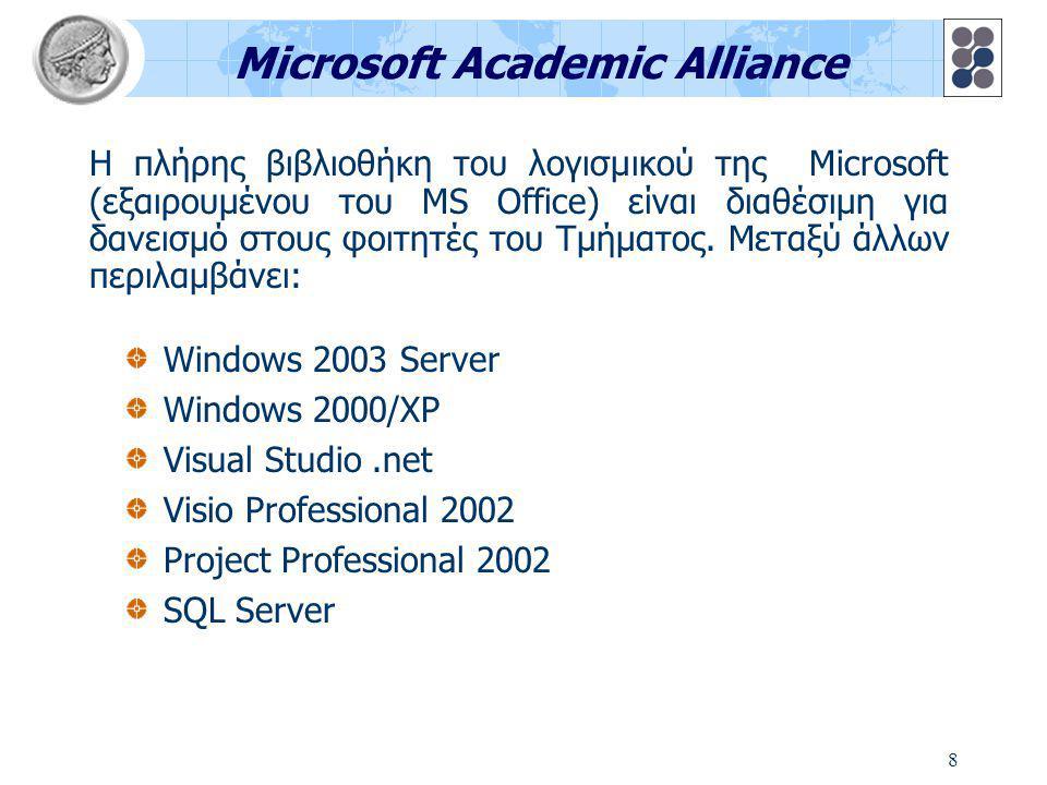 8 Microsoft Academic Alliance Windows 2003 Server Windows 2000/XP Visual Studio.net Visio Professional 2002 Project Professional 2002 SQL Server Η πλήρης βιβλιοθήκη του λογισμικού της Microsoft (εξαιρουμένου του MS Office) είναι διαθέσιμη για δανεισμό στους φοιτητές του Τμήματος.