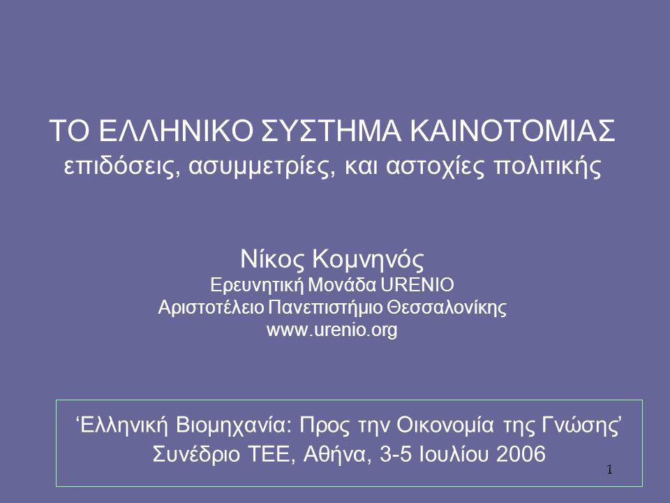 1 ΤΟ ΕΛΛΗΝΙΚΟ ΣΥΣΤΗΜΑ ΚΑΙΝΟΤΟΜΙΑΣ επιδόσεις, ασυμμετρίες, και αστοχίες πολιτικής Νίκος Κομνηνός Ερευνητική Μονάδα URENIO Αριστοτέλειο Πανεπιστήμιο Θεσσαλονίκης www.urenio.org 'Ελληνική Βιομηχανία: Προς την Οικονομία της Γνώσης' Συνέδριο ΤΕΕ, Αθήνα, 3-5 Ιουλίου 2006