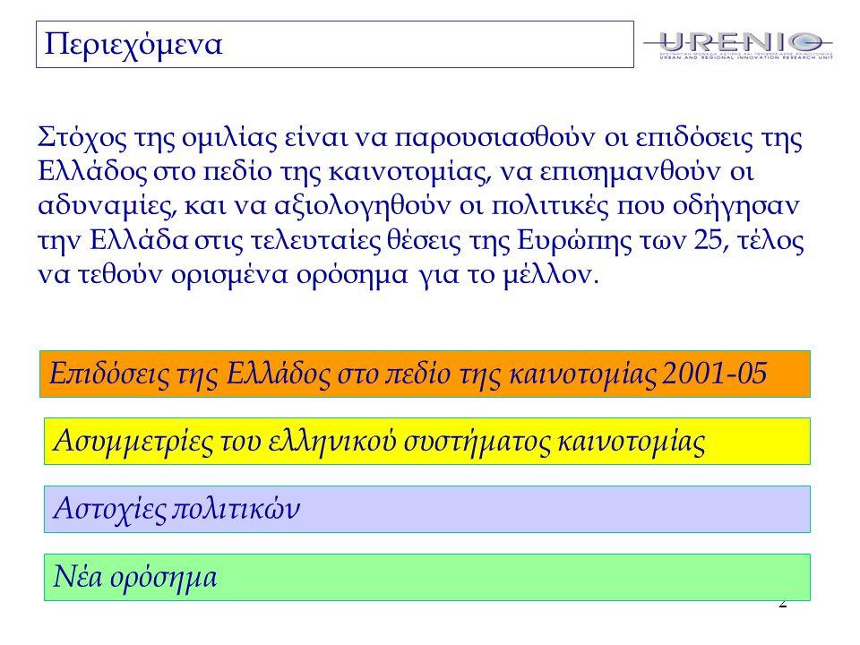 2 Περιεχόμενα Επιδόσεις της Ελλάδος στο πεδίο της καινοτομίας 2001-05 Ασυμμετρίες του ελληνικού συστήματος καινοτομίας Αστοχίες πολιτικών Στόχος της ομιλίας είναι να παρουσιασθούν οι επιδόσεις της Ελλάδος στο πεδίο της καινοτομίας, να επισημανθούν οι αδυναμίες, και να αξιολογηθούν οι πολιτικές που οδήγησαν την Ελλάδα στις τελευταίες θέσεις της Ευρώπης των 25, τέλος να τεθούν ορισμένα ορόσημα για το μέλλον.