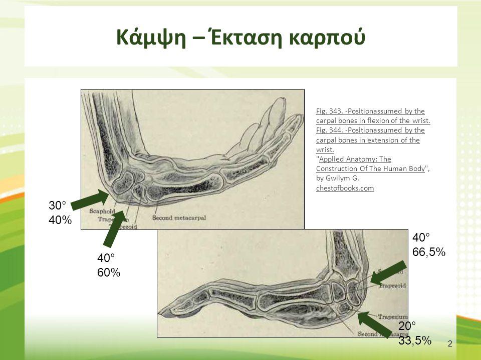 Κάμψη – Έκταση καρπού 2 40° 60% 30° 40% 40° 66,5% 20° 33,5% Fig. 343. -Positionassumed by the carpal bones in flexion of the wrist. Fig. 344. -Positio