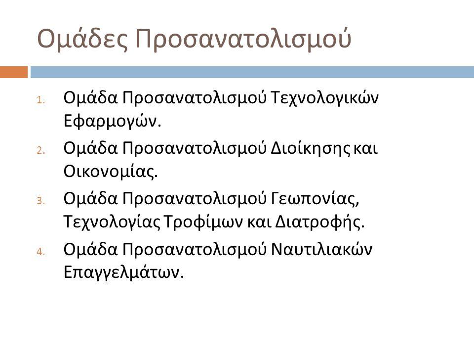 Ομάδες Προσανατολισμού 1. Ομάδα Προσανατολισμού Τεχνολογικών Εφαρμογών. 2. Ομάδα Προσανατολισμού Διοίκησης και Οικονομίας. 3. Ομάδα Προσανατολισμού Γε