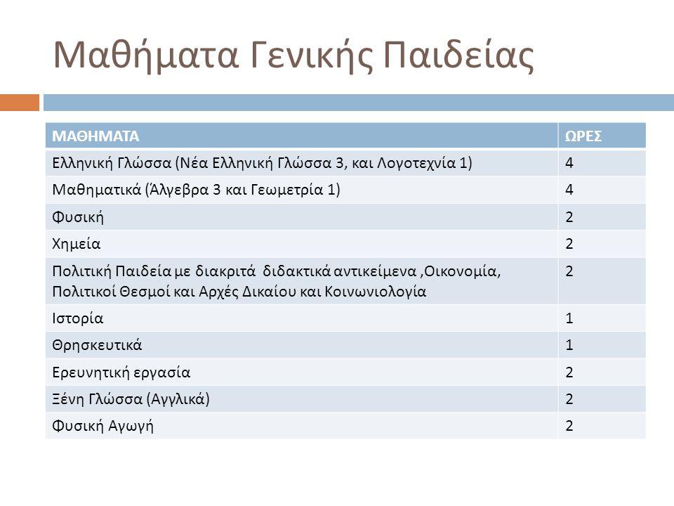 Μαθήματα Γενικής Παιδείας ΜΑΘΗΜΑΤΑΩΡΕΣ Ελληνική Γλώσσα ( Νέα Ελληνική Γλώσσα 3, και Λογοτεχνία 1) 4 Μαθηματικά ( Άλγεβρα 3 και Γεωμετρία 1) 4 Φυσική 2