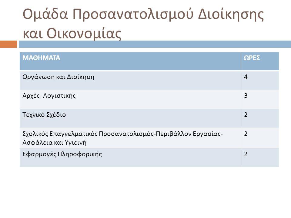Ομάδα Προσανατολισμού Διοίκησης και Οικονομίας ΜΑΘΗΜΑΤΑΩΡΕΣ Οργάνωση και Διοίκηση 4 Αρχές Λογιστικής 3 Τεχνικό Σχέδιο 2 Σχολικός Επαγγελματικός Προσαν