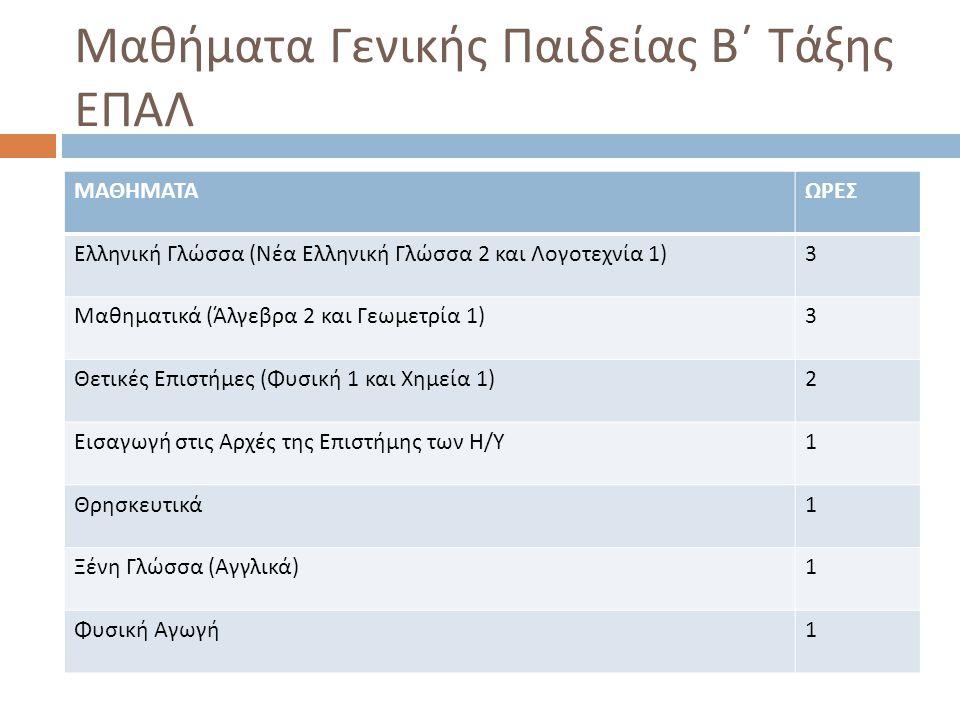 Μαθήματα Γενικής Παιδείας Β΄ Τάξης ΕΠΑΛ ΜΑΘΗΜΑΤΑΩΡΕΣ Ελληνική Γλώσσα ( Νέα Ελληνική Γλώσσα 2 και Λογοτεχνία 1) 3 Μαθηματικά ( Άλγεβρα 2 και Γεωμετρία