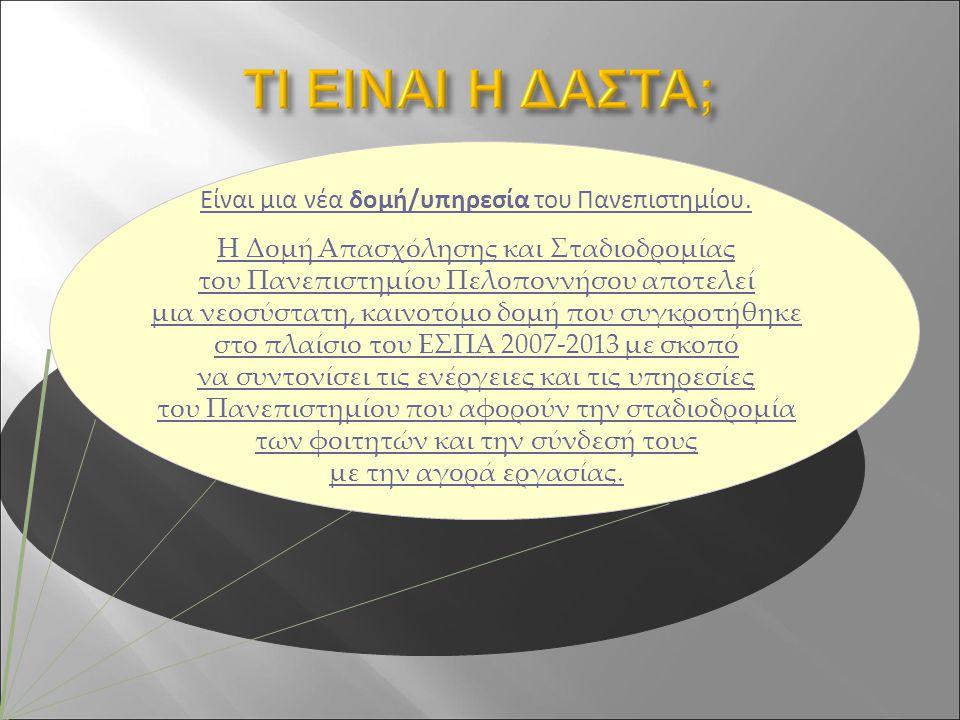 Η ομάδα της ΔΑΣΤΑ είναι στη διάθεσή σας για οποιαδήποτε πληροφορία χρειαστείτε ή για οποιαδήποτε πρόταση έχετε να μας κάνετε…:  στο dasta@uop.grdasta@uop.gr  στον ιστότοπό μας  στο γραφείο μας που βρίσκεται Τέρμα Καραϊσκάκη- ΤΚ 22 100, Τρίπολη (κτίριο ΟΑΕΔ) τηλ.