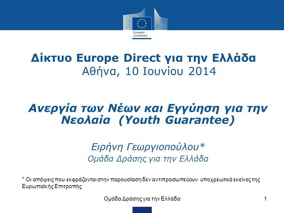 Δίκτυο Europe Direct για την Ελλάδα Αθήνα, 10 Ιουνίου 2014 Ομάδα Δράσης για την Ελλάδα1 Ανεργία των Νέων και Εγγύηση για την Νεολαία (Youth Guarantee) Eιρήνη Γεωργιοπούλου* Ομάδα Δράσης για την Ελλάδα * Οι απόψεις που εκφράζονται στην παρουσίαση δεν αντιπροσωπεύουν υποχρεωτικά εκείνες της Ευρωπαϊκής Επιτροπής