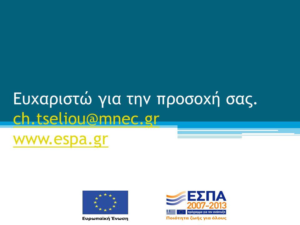 Ευχαριστώ για την προσοχή σας. ch.tseliou@mnec.gr www.espa.gr ch.tseliou@mnec.gr www.espa.gr