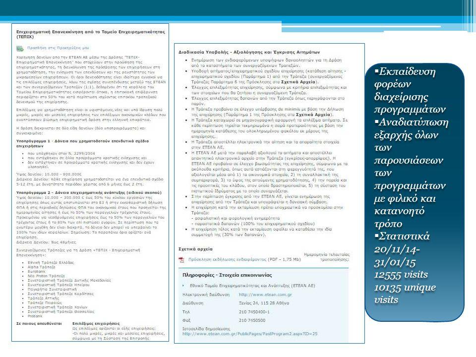ΕΕΕΕκπαίδευση φορέων διαχείρισης προγραμμάτων ΑΑΑΑναδιατύπωση εξαρχής όλων των παρουσιάσεων των προγραμμάτων με φιλικό και κατανοητό τρόπο ΣΣΣΣτατιστικά 20/11/14- 31/01/15 12555 visits 10135 unique visits