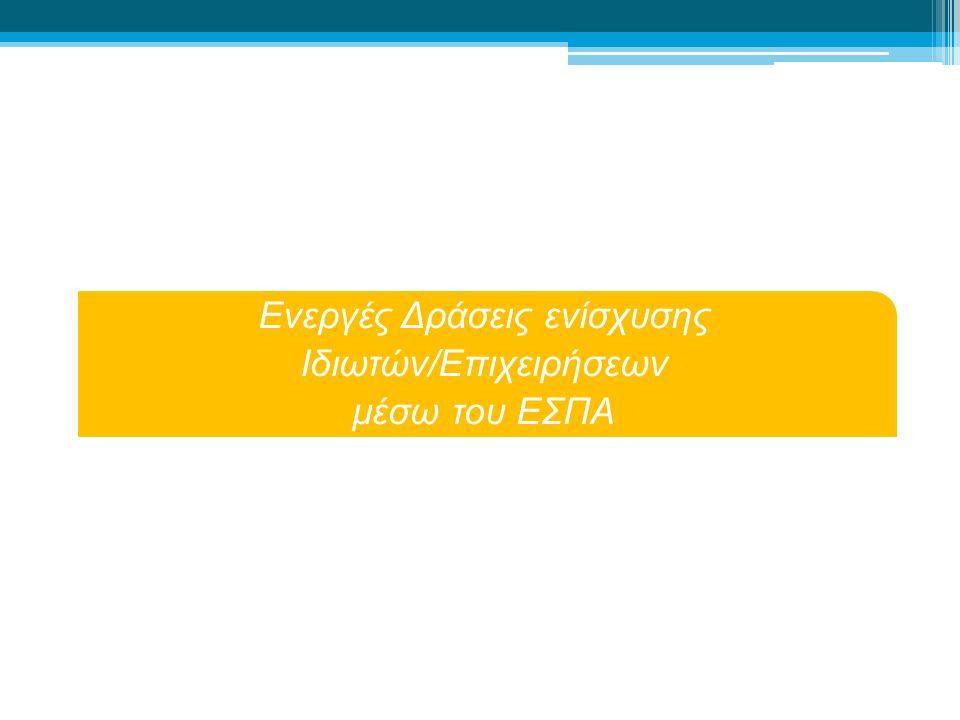 Ενεργές Δράσεις ενίσχυσης Ιδιωτών/Επιχειρήσεων μέσω του ΕΣΠΑ