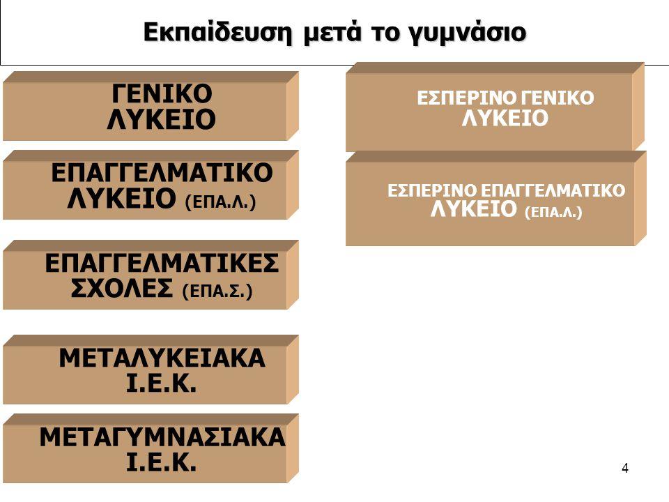 4 ΕΠΑΓΓΕΛΜΑΤΙΚΕΣ ΣΧΟΛΕΣ (ΕΠΑ.Σ.) Εκπαίδευση μετά το γυμνάσιο ΜΕΤΑΛΥΚΕΙΑΚΑ Ι.Ε.Κ.