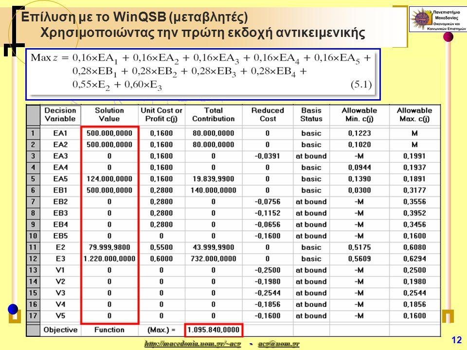 http://macedonia.uom.gr/~acghttp://macedonia.uom.gr/~acg - acg@uom.gr acg@uom.gr http://macedonia.uom.gr/~acgacg@uom.gr 12 Επίλυση με το WinQSB (μεταβλητές) Χρησιμοποιώντας την πρώτη εκδοχή αντικειμενικής