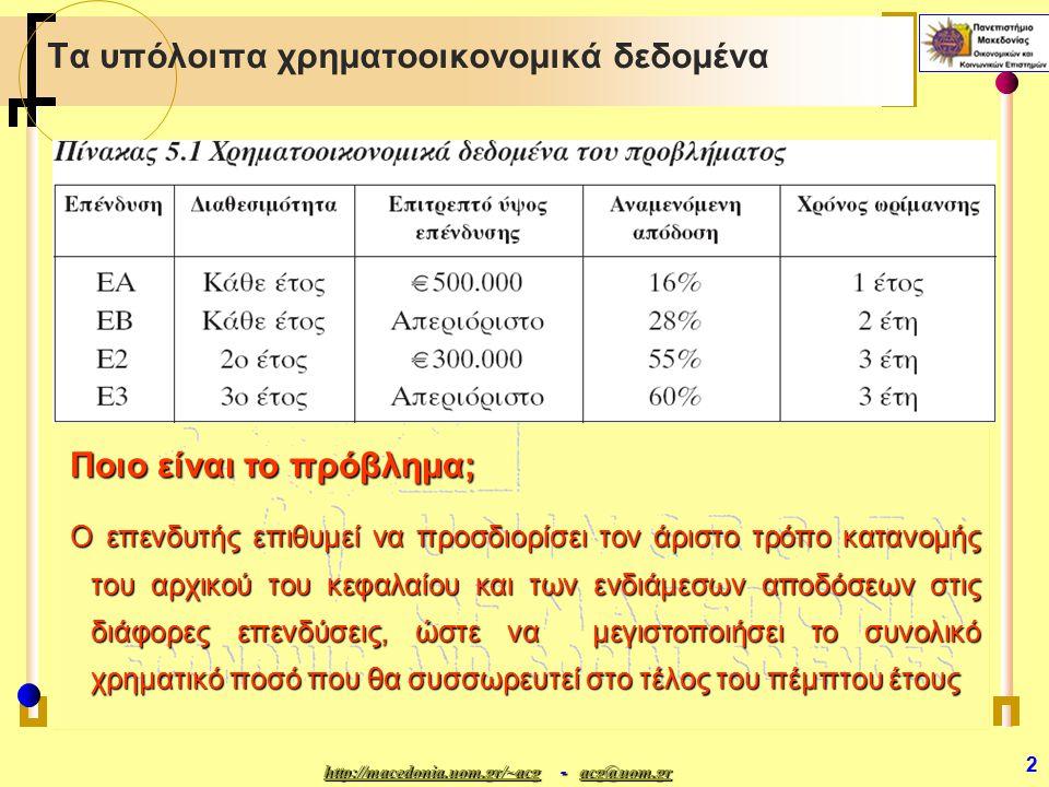 http://macedonia.uom.gr/~acghttp://macedonia.uom.gr/~acg - acg@uom.gr acg@uom.gr http://macedonia.uom.gr/~acgacg@uom.gr 3 Βασικές Υποθέσεις (1)  Η κατανομή των διάφορων ποσών κατά τη διάρκεια της πενταετίας πρέπει να είναι ακριβής και συγκεκριμένη (σε αντίθεση με την περίπτωση «Επιλογή Χαρτοφυλακίου ΙΙ»)  Η επιθυμητή διασπορά του κεφαλαίου σε κάθε περίοδο εκφράζεται εν μέρει από το μέγιστο επιτρεπτό ύψος επένδυσης για κάποιες από αυτές, όπως αυτό αναφέρεται στον πίνακα 5.1  Δεν υπάρχουν άλλες πληροφορίες για τους κλάδους στους οποίους ανήκουν οι επενδύσεις αυτές ούτε για περιορισμούς συσχέτισης των ποσών που τοποθετούνται μεταξύ των κλάδων ή μεταξύ διαφορετικών ετών  Ο επενδυτικός κίνδυνος και οι πιθανές αλληλεπιδράσεις μεταξύ των επενδυτικών ευκαιριών δεν παίρνουν συγκεκριμένη ποσοτική μορφή