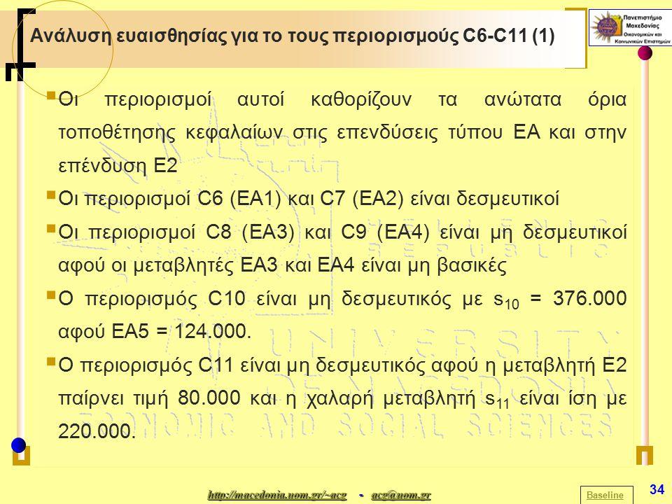 http://macedonia.uom.gr/~acghttp://macedonia.uom.gr/~acg - acg@uom.gr acg@uom.gr http://macedonia.uom.gr/~acgacg@uom.gr 34 Ανάλυση ευαισθησίας για το τους περιορισμούς C6-C11 (1) Baseline  Οι περιορισμοί αυτοί καθορίζουν τα ανώτατα όρια τοποθέτησης κεφαλαίων στις επενδύσεις τύπου ΕΑ και στην επένδυση Ε2  Οι περιορισμοί C6 (EA1) και C7 (EA2) είναι δεσμευτικοί  Oι περιορισμοί C8 (ΕΑ3) και C9 (ΕΑ4) είναι μη δεσμευτικοί αφού οι μεταβλητές EA3 και ΕΑ4 είναι μη βασικές  Ο περιορισμός C10 είναι μη δεσμευτικός με s 10 = 376.000 αφού ΕΑ5 = 124.000.