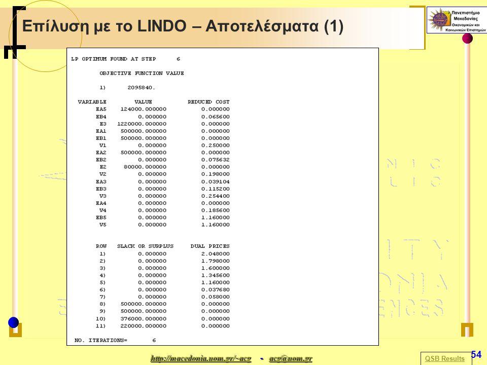 http://macedonia.uom.gr/~acghttp://macedonia.uom.gr/~acg - acg@uom.gr acg@uom.gr http://macedonia.uom.gr/~acgacg@uom.gr 54 Επίλυση με το LINDO – Αποτελέσματα (1) QSB Results