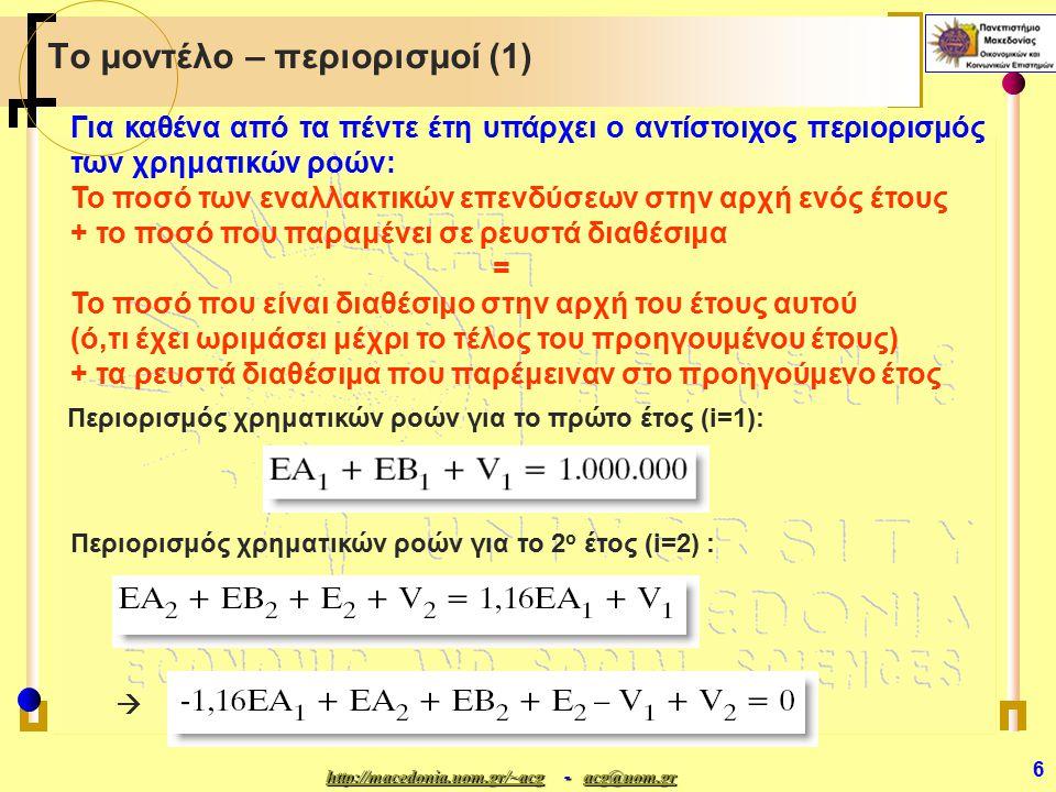 http://macedonia.uom.gr/~acghttp://macedonia.uom.gr/~acg - acg@uom.gr acg@uom.gr http://macedonia.uom.gr/~acgacg@uom.gr 27 Ο κανόνας του 100% Παράδειγμα αντικειμενικών συντελεστών (2) Baseline 34,36% + 76,72%= 85,51% < 100%  Η αθροιστική μεταβολή είναι: 34,36% + 76,72% = 85,51% < 100% Συνεπώς:  Η άριστη λύση παραμένει αναλλοίωτη  Νέα τιμή του z =παλαιά τιμή του z + 124.000  (1,17 - 1.16) + 1.122.000  (1,58 - 1.60) = = 2.095.840 + 124.000  (0,01) + 1.122.000  (-0,02) 2.072.680 = 2.072.680