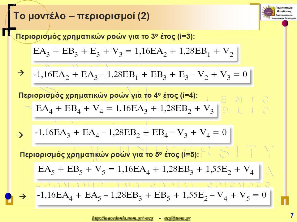 http://macedonia.uom.gr/~acghttp://macedonia.uom.gr/~acg - acg@uom.gr acg@uom.gr http://macedonia.uom.gr/~acgacg@uom.gr 8 Το μοντέλο – περιορισμοί (3) εναλλακτική αντικειμενική συνάρτηση Εναλλακτική μορφή αντικειμενικής συνάρτησης (αποδόσεις και αρχικό κεφάλαιο στην αρχή του έκτου έτους) : Περιορισμοί σχετικοί με το ανώτατο επιτρεπτό ύψος των επενδύσεων: Στην πραγματικότητα, ο επενδυτής θέλει να μεγιστοποιήσει την τελική αξία του κεφαλαίου του στο τέλος του πέμπτου έτους, δηλαδή στην αρχή του έκτου έτους και η αντικειμενική συνάρτηση μπορεί να πάρει την ακόλουθη εναλλακτική μορφή (γιατί??) και