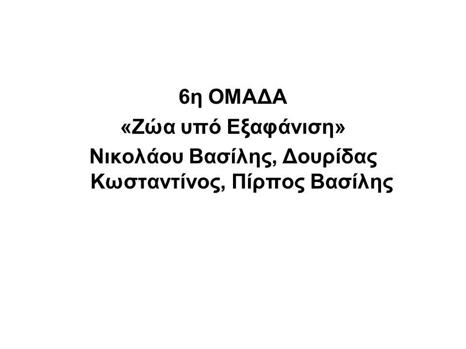 6η ΟΜΑΔΑ «Ζώα υπό Εξαφάνιση» Νικολάου Βασίλης, Δουρίδας Κωσταντίνος, Πίρπος Βασίλης