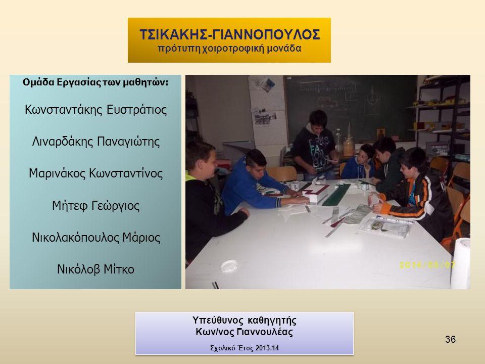 36 Ομάδα Εργασίας των μαθητών: Κωνσταντάκης Ευστράτιος Λιναρδάκης Παναγιώτης Μαρινάκος Κωνσταντίνος Μήτεφ Γεώργιος Νικολακόπουλος Μάριος Νικόλοβ Μίτκο ΤΣΙΚΑΚΗΣ-ΓΙΑΝΝΟΠΟΥΛΟΣ πρότυπη χοιροτροφική μονάδα Υπεύθυνος καθηγητής Κων/νος Γιαννουλέας Σχολικό Έτος 2013-14 Υπεύθυνος καθηγητής Κων/νος Γιαννουλέας Σχολικό Έτος 2013-14