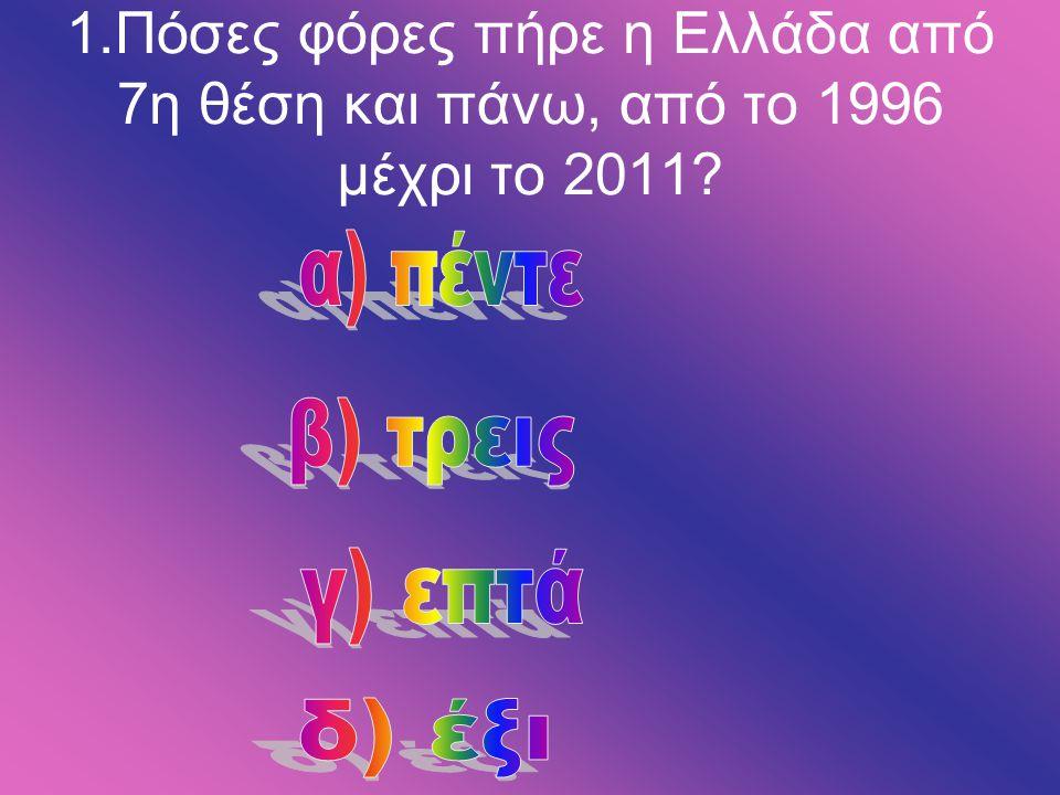 1.Πόσες φόρες πήρε η Ελλάδα από 7η θέση και πάνω, από το 1996 μέχρι το 2011