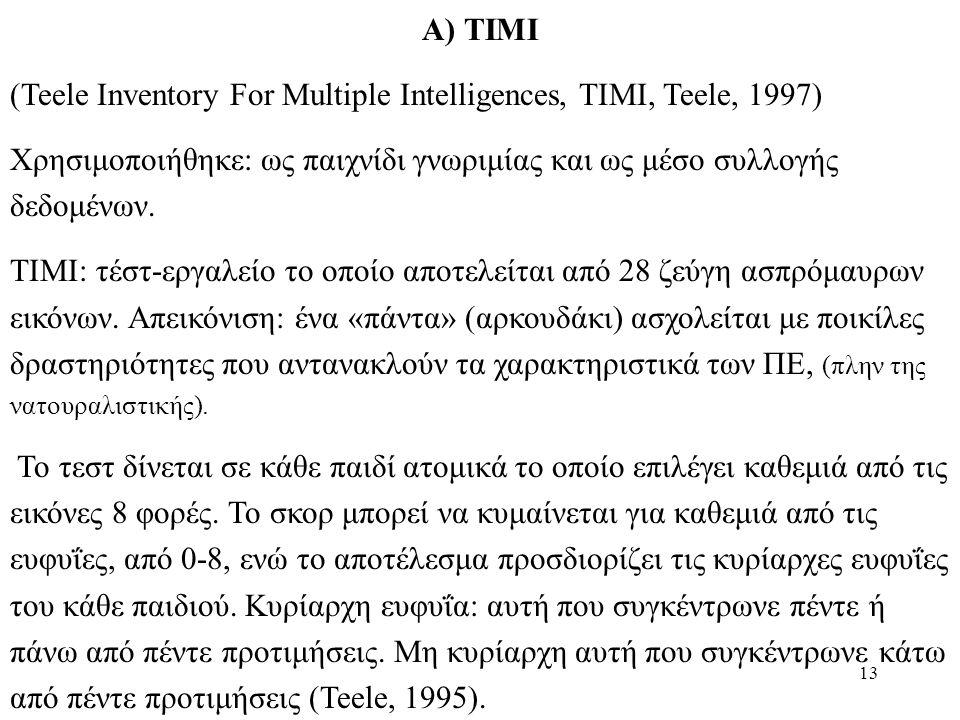 13 Α) ΤΙΜΙ (Teele Inventory For Multiple Intelligences, TIMI, Teele, 1997) Χρησιμοποιήθηκε: ως παιχνίδι γνωριμίας και ως μέσο συλλογής δεδομένων.