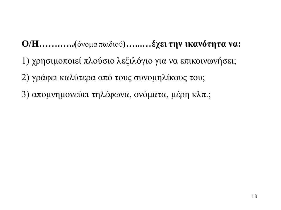 18 Ο/Η…….…..( όνομα παιδιού )…...…έχει την ικανότητα να: 1) χρησιμοποιεί πλούσιο λεξιλόγιο για να επικοινωνήσει; 2) γράφει καλύτερα από τους συνομηλίκους του; 3) απομνημονεύει τηλέφωνα, ονόματα, μέρη κλπ.;