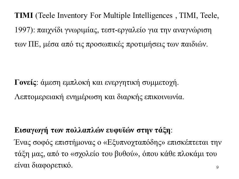 9 ΤΙΜΙ (Teele Inventory For Multiple Intelligences, TIMI, Teele, 1997): παιχνίδι γνωριμίας, τεστ-εργαλείο για την αναγνώριση των ΠΕ, μέσα από τις προσωπικές προτιμήσεις των παιδιών.